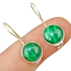 Malachite 925 Sterling Silver Earring Allison Co Jewelry E-1083 #Allisonsilverco