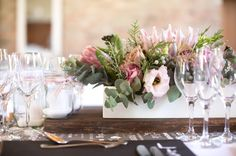 These flowers. Garden Variety Flowers Such as Gomphrena, Billy Buttons, and Delphinium for Vintage and Antiqued Centerpiece Arrangements - The French Bouquet - Amanda Geier Photography Protea Wedding, Floral Wedding, Diy Wedding, Wedding Flowers, Wedding Lunch, Decor Wedding, Wedding Bells, Garden Wedding, Dream Wedding