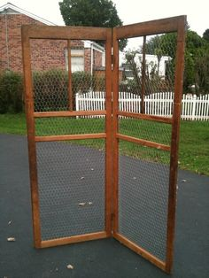 Screen Door with Chicken wire...would make a cute trellis. My divider would be great done like this!