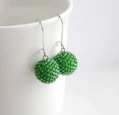 Forest Green Beaded Beads Earrings Beadwork Iridescent Fresh Green