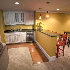 Traditional Basement Colorful Kitchen Design, Pictures, Remodel, Decor and Ideas