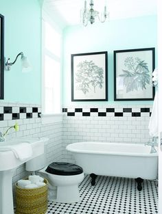 Picture taken from 'House of Turquoise'. Love the black and white tiles and with the blue it's so fresh and clean! Black White Bathrooms, White Bathroom Tiles, Master Bathroom, Bathroom Colors, Bathroom Artwork, Turquoise Bathroom, Bathroom Flooring, Basement Bathroom, Bathroom Towels