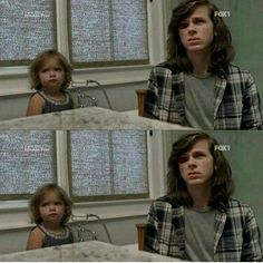 """The Walking Dead Season 7 Episode 8 'Hearts Still Beating'   Carl (Chandler Riggs) and Judith, brother and sister, share """"the look"""" at Negan."""