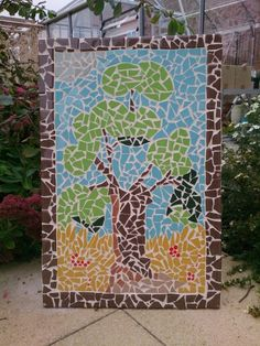 Outdoor summer mosaic tree. Ceramic tiles on cement backer board:-)