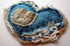 mini art quilt heart in aqua with embroidered pocket for joy. - make large enough for coaster