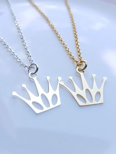 Princess Crown Necklace Crown Charms Gold crown Queen Necklace Queen Crown Charm Necklace Sterling Silver Necklace Mothers Day Gift G. Bee Jewelry, Indian Jewelry, Pee Wee Herman, Laser Cutting, Pearl Necklace, Fashion Jewelry, Touch, Pearls, Pendant