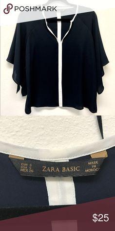 Zara navy blouse size s. Zara Basic drapey navy blouse size s.  Excellent condition.  Like new! Zara Tops Blouses