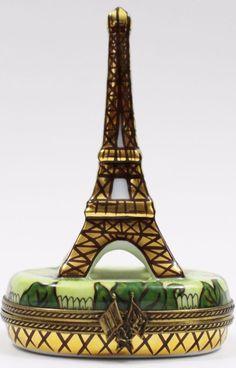 Atelier de Limoges France Peint Main A.F. Eiffel Tower Vintage Rare Trinket Box #Limoges