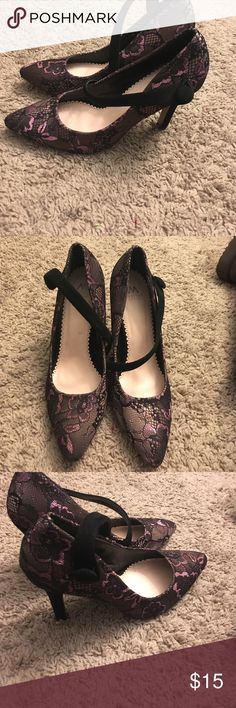 Lacey black and purple pumps 👠 These beautiful black and purple lacey pumps are my favorite pair of heels I have ever owned. They are extremely comfortable and goes with any look. They are about 2(1/2) to 3in high. Slightly worn on bottom of shoe. Madison collection. 1 Madison Shoes Heels