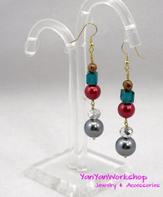 Christmas Earrings, Swarovski Crystals, Pearls Red & Silver