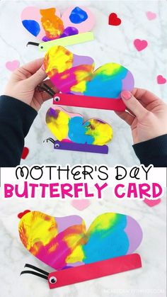 How to Make a Butterfly Card with colorful Paint Smash Butterfly Wings -Simple butterfly card for kids to make for Mother's Day, Valentine's Day or any special occasions. Easy diy card template for kids. crafts videos How to Make a Simple Butterfly Card Kids Crafts, Mothers Day Crafts For Kids, Mothers Day Cards, Valentine Day Crafts, Toddler Crafts, Preschool Crafts, Easter Crafts, Valentines, 5 Year Old Crafts