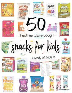 50 Healthy Kids Snacks to Buy – Printable Shopping List Healthy Store Bought Snacks, Healthy Snacks To Buy, Healthy Kids, Veggie Yogurt, Strawberry Cereal, Bare Fruit, Best Granola, Printable Shopping List, Shopping