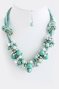 DivaByDzine - Beaded Turquoise Cluster Necklace Set, $12.99 (http://www.divabydzine.com/beaded-turquoise-cluster-necklace-set/)
