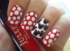 nails, nail art, polish swatches, etc. / Minnie Mouse inspired nails by Margaret at Holy Manicures. Use Delaunay, Brandt and Brigitte to get the look. Fan Nails, Love Nails, How To Do Nails, Pretty Nails, Minnie Mouse Nail Art, Minnie Mouse Nails, Mickey Nails, Simple Nail Art Designs, Cute Nail Designs