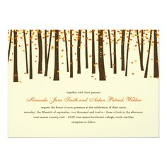 Forest Trees Wedding Invitation - Orange - #wedding invitations #trees #autumn wedding