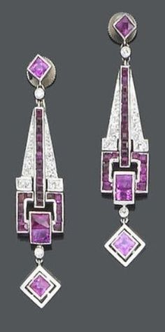 A pair of Art Deco ruby and diamond pendant earrings, circa Each French-cu. - A pair of Art Deco ruby and diamond pendant earrings, circa Each French-cut ruby suspending a - Art Deco Jewelry, I Love Jewelry, Fine Jewelry, Jewelry Design, Geek Jewelry, Jewelry Accessories, Ruby Earrings, Pendant Earrings, Diamond Earrings