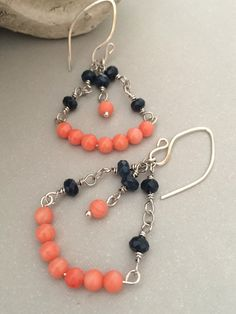 Coral and Blue Jade Chandelier Earrings by ClassyChicDesigns4u