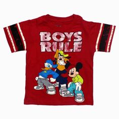 Disney Mickey Mouse Graphic T Shirt Donald Goofy Red Toddler Boys Size 3T nwt #Disney #Everyday
