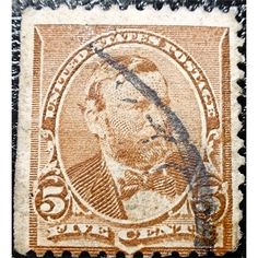 United States, Ulysses S. Grant, 5-cent Postage stamp, 5C, Chocolate, Issued June 2, 1890, Bank Note Issue, no triangle