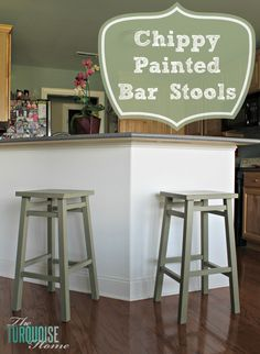 Chippy Painted Bar Stools. I never thought about painting my barstools, but I like the contrast with the floor. If I do this, I would paint the junior chair the same color as well I think.