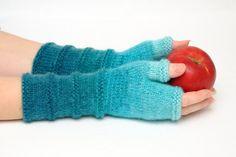 Unieke Vingerloze handschoenen breien handschoenen fingerless Mittens Warmers vriendin cadeau voor haar Winter Valentines gift Womens giftideeën Aquamarijn
