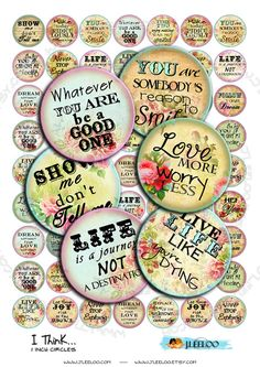 Digital collage I THINK 1 inch circle quote romantic roses flower phrases magnet… Bottle Cap Art, Bottle Cap Crafts, Bottle Cap Images, Art Journal Pages, Art Journals, Halloween Geist, Circle Quotes, Diy And Crafts, Paper Crafts
