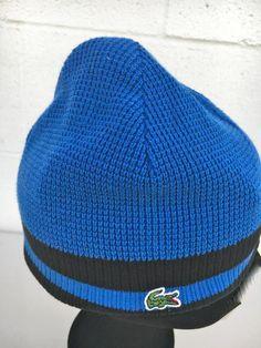 NWT Lacoste Men/'s Reversible Extra Fine Merino Wool Logo Beanie Hat GREY or BLUE