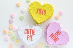 Conversation Heart Mini Piñatas by Aly Dosdall using DIY Party supplies from We R Memory Keepers Valentines Day Party, Valentine Crafts, Valentine Ideas, Homemade Pinata, Mini Pinatas, Balloons And More, Diy Party Supplies, Fun Party Games, Converse With Heart