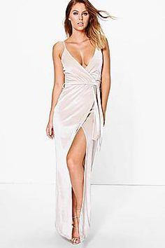 Pia Velvet Wrap Tie Maxi Dress