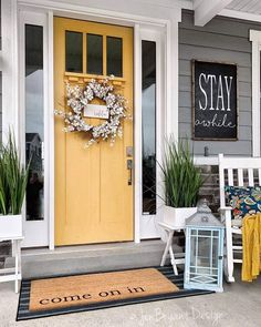 Front Door Decor Discover 30 Gorgeous And Inviting Farmhouse Style Porch Decorating Ideas Tis the season of summer days and outdoor spaces to enjoy them so check out our fab collection of farmhouse style ideas for your porch. Modern Farmhouse Porch, Farmhouse Front Porches, Farmhouse Style, Modern Porch, Modern Door Mats, Farmhouse Ideas, Farmhouse Outdoor Decor, Urban Farmhouse, White Farmhouse