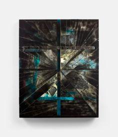 Black Mass (Second Version) (2012) 50 x 62 in., Acrylic, collage, shattered mirror, epoxy, Plexiglas, spray enamel, wood