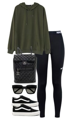 """""""Untitled #3840"""" by theeuropeancloset ❤ liked on Polyvore featuring NIKE, Vans, Chanel and Yves Saint Laurent"""