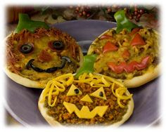 Taco Nacho Pizza Jack-O-Lanterns (using frozen dinner roll dough)