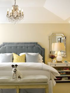 master bedroom  I like the bench at end of bed and the mirror behind the  nighstand!!!  and LOVE the chandelier