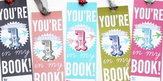 Printable Valentine Bookmarks! Love since my girls can't hand out food Valentines /:
