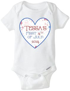 4th of July Fourth of July Personalized / Customized Name Onesie - Onesie Shirt - Preemie Size Available!  Order yours here: https://www.etsy.com/shop/LittleFroggySurfShop
