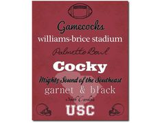 USC Gamecocks South Carolina Subway Art by PatriotIslandDesigns, $14.00