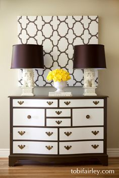 contrast on chest + lamps.  A great and unique look for any room in the house, bedroom or living room alike.