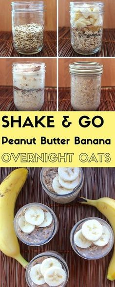 Shake & Go Peanut Butter Banana Overnight Oats; a high-protein easy #vegan breakfast from http://TwoGreenPeas.com