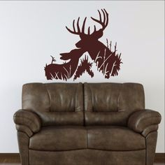 """Wall Decal Deer Buck and Fawn Style H Vinyl Wall Decal 22333 This decal measures approx. 24""""W x 22""""H. The color samples shown have been reproduced and may vary slightly from actual colors due to diffe"""