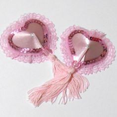 """Romantika"" Satin & Lace Heart Nipple Tassels Pasties Covers Red or Pink 