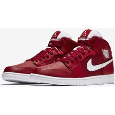 Air Jordan 1 Mid Men's Shoe. Nike.com ❤ liked on Polyvore featuring men's fashion, men's shoes, nike mens shoes and mens shoes