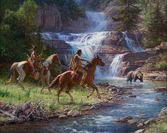 This is the latest release of a painting by Martin Grelle.  It is available in prints and it's a great piece showing American Indians crossing trails with a huge bear!  Click on the picture to see more!