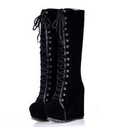 Knee high wedge heeled rugged sole boots
