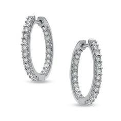 Zales 1/7 CT. T.w. Diamond Milgrain Hoop Earrings in Sterling Silver f7MyrBahr