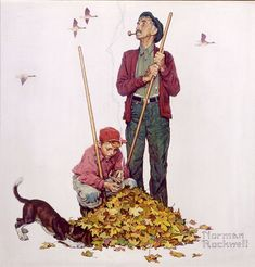 Raking leaves & playing in them in the fall.one of my favorite things when I was a kid! This illustration is by Norman Rockwell. Norman Rockwell Prints, Norman Rockwell Paintings, Illustrations, Illustration Art, The Saturdays, Arte Pop, Art Graphique, American Artists, Belle Photo