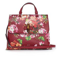 0d8bd9aa065 GUCCI Bamboo Shopper Blooms Leather Tote Bag Red