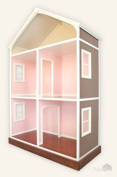 the basic layout for the dollhouse we're building for the girls. 1st Floor: Use one column to separate room instead of doorway. 2nd Floor: solid wall so each doll can have private room [and space for furniture]. 3rd Floor: a bit taller to accomodate as a third floor attic room [the bathroom or Kit's room]
