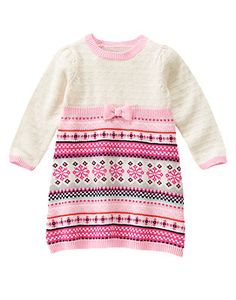 Adorable mouse. Soft sweater dress is brightened up with Fair Isle ...