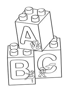 Lego A-B-C blocks coloring page - Free Printable Coloring Pages